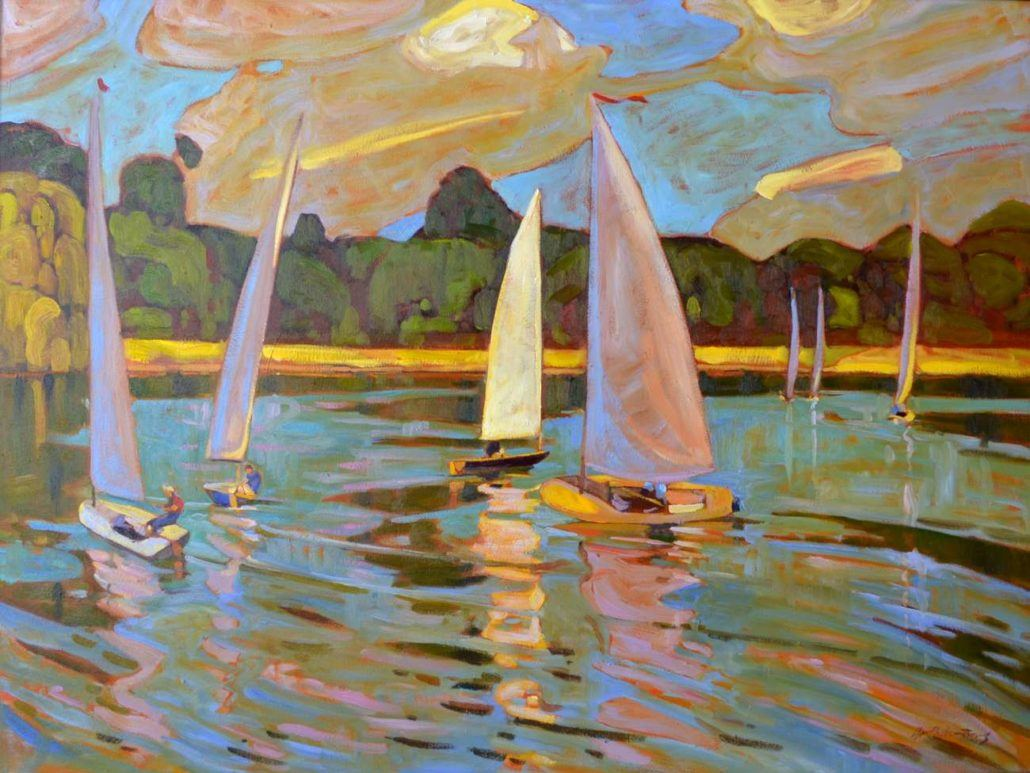 Garth Armstrong - Sailboats on Lake - 36x48 - GA0219s - Oil